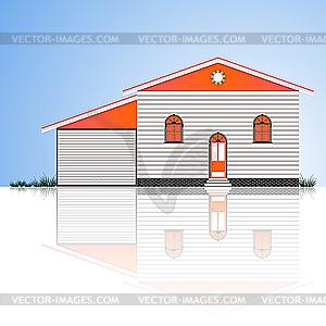 Haus mit Garage - Vektorgrafik