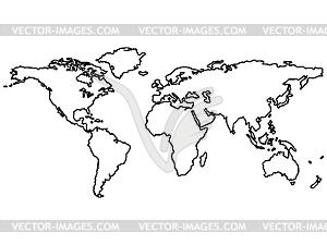 Weltkarte mit den Konturen der Kontinente - vektorisiertes Clipart