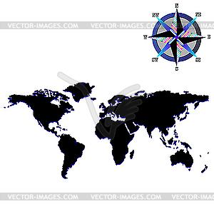 Weltkarte mit den Konturen der Kontinente - vektorisierte Grafik