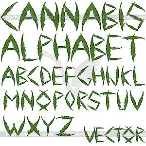 Cannabis-Buchstaben - Vektor-Bild