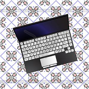 Notebook auf einem Tischtuch - Vektor-Abbildung