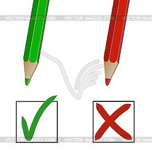 Bleistiftstriche und Checkboxen - Clipart-Design