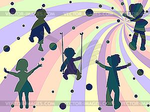 Vier Kinder Silhouetten - Vektor-Clipart EPS