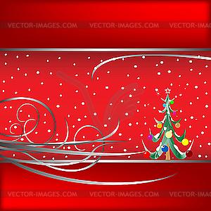 Weihnachtsbaum und Schnee - Vektor-Bild