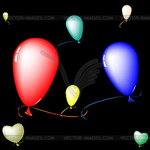 Farbige Luftballons auf schwarzem Hintergrund - farbige Vektorgrafik