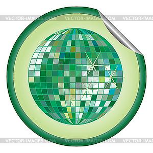 Aufkleber grüne Disco-Kugel - Vector-Design