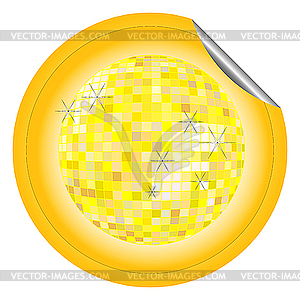 Aufkleber gelbe Disco-Kugel - Vector-Illustration