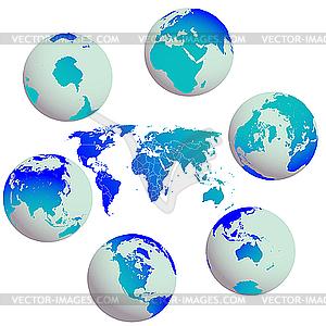 Erde-Globen und Welt-Karte - vektorisiertes Clipart