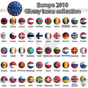 Glänzende Icons mit Europa-Flaggen - Vector-Clipart