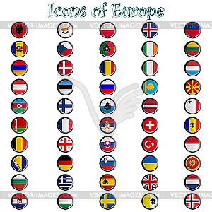 Glänzende Icons mit Europa-Flaggen - Stock Vektor-Bild