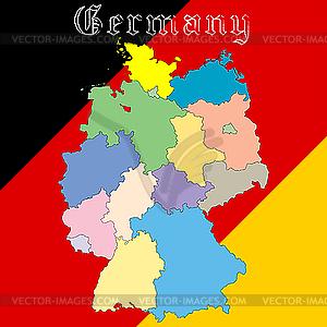 Landkarte Deutschland - farbige Vektorgrafik
