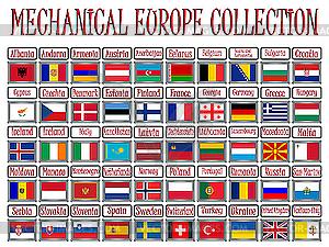 Шильды с флагами стран европы