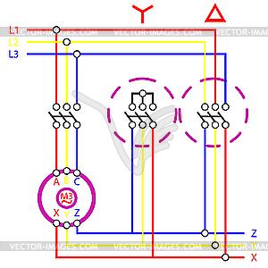 Схема электрической цепи - изображение в векторном формате.