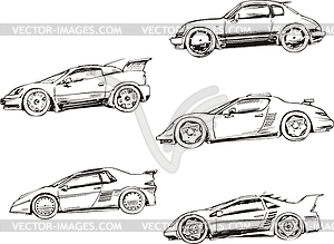 Sport racing cars - vector  Race Car Clipart Black And White