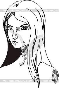 Gesicht des Mädchens - Vektor-Skizze
