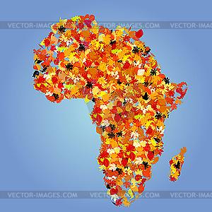 Landkarte Afrikas aus Herbstblätter - vektorisierte Abbildung