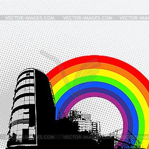 Stadtpanorama und Regenbogen - Royalty-Free Clipart