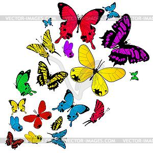 Farbiger Schmetterlinge-Hintergrund - Vektor-Skizze