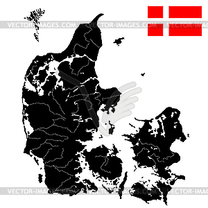 Flagge und Landkarte von Dänemark - vektorisiertes Design