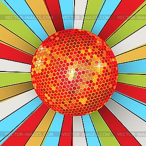 Ретро блестящий дискотечный шар - векторное изображение