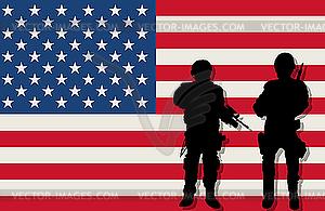 Bewaffnete Soldaten und US-Flagge - Vector-Clipart