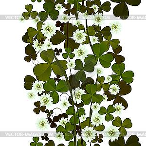 Klee-Blätter und Blüten - Stock-Clipart