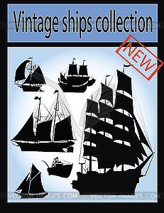 Set von alten Schiffen - Vector-Bild