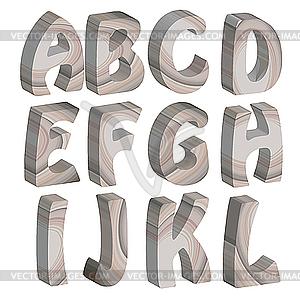 3d holz buchstaben des alphabets vektorisiertes clipart. Black Bedroom Furniture Sets. Home Design Ideas