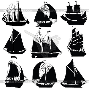 Set von Segelschiffen - Vector Clip Art