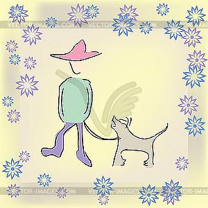 Boy Spaziergang mit dem Hund - vektorisiertes Design