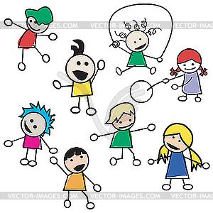 Spielende Kinder - Silhouetten - Vector-Abbildung