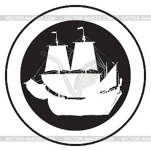 Emblem eines alten Schiffes - Vector-Bild