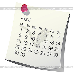 2013 April Kalender - Vektor-Bild
