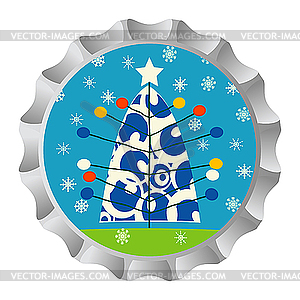 Retro Flaschendeckel mit Weihnachtsbaum und Schneeflocken - Vector-Illustration