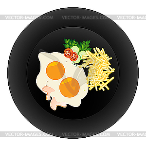 Eier und Pommes frites - vektorisierte Abbildung