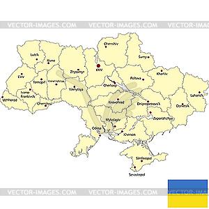 Karte von Ukraine - Vektorgrafik