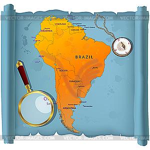 Südamerikas Karte - Vektor Clip Art