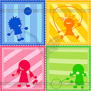 Kinder-Silhouetten - Vektorgrafik-Design