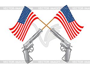 US-Flagge und Revolver - Stock Vektor-Clipart