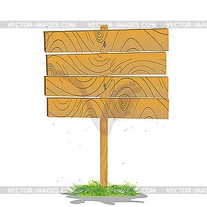 Stilisierte Holzbrett auf einem Gras - Vektor-Abbildung