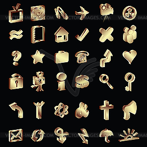 3D golden Icons-Set - vektorisiertes Bild