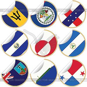 Sammlung von Aufklebern mit Flaggen - Vector-Clipart EPS
