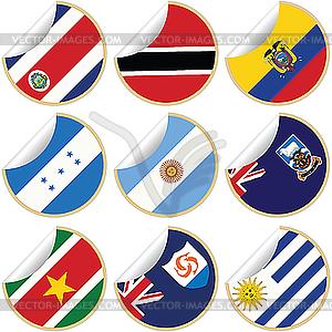 Sammlung von Aufklebern mit Flaggen - Vektor-Illustration