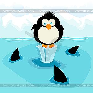 Pinguin und Haie - Vektor-Skizze