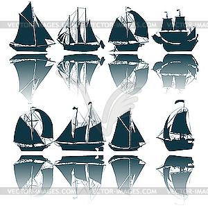 Segelschiffe, Silhouetten - Vector-Clipart EPS