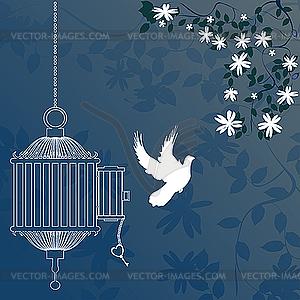 Vogel und Käfig - Stock Vektor-Clipart
