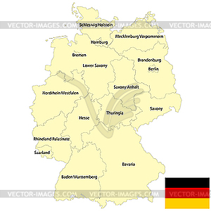 Germany map - color vector clipart