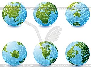 Set von Erde-Globen - vektorisiertes Bild