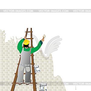 Mann malt eine Wand - Vektorgrafik-Design