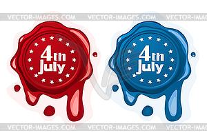 4. Juli Wachssiegel - Stock-Clipart